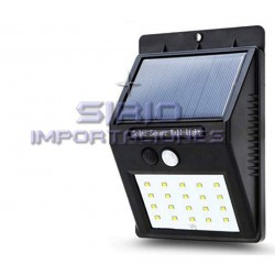 FOCO LED SOLAR CON SENSOR DE MOVIMIENTO, 20 LED